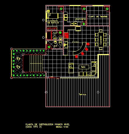 فایل اتوکد پلان معماری طبقه اول ساختمان ویلایی با مبلمان کامل قابل ویرایش