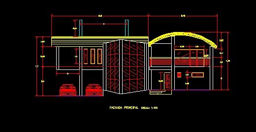 فايل اتوکد نما معماري ساختمان ويلايي کامل قابل ويرايش