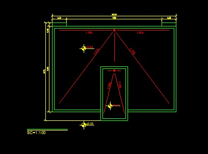 فایل اتوکد پلان بام ساختمان مسکونی 2 طبقه با شیب بندی کامل قابل ویرایش