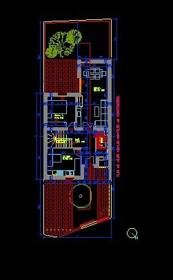 فایل اتوکد پلان معماری طبقه همکف ساختمان ویلایی 2 طبقه با مبلمان کامل قابل ویرایش