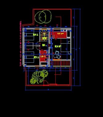فایل اتوکد پلان معماری طبقه همکف ساختمان ویلایی 2 طبقه با اندازه گذاری کامل قابل ویرایش
