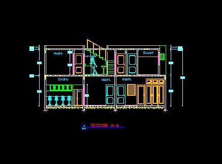 فایل اتوکد برش ساختمان ویلایی 2 طبقه کامل قابل ویرایش